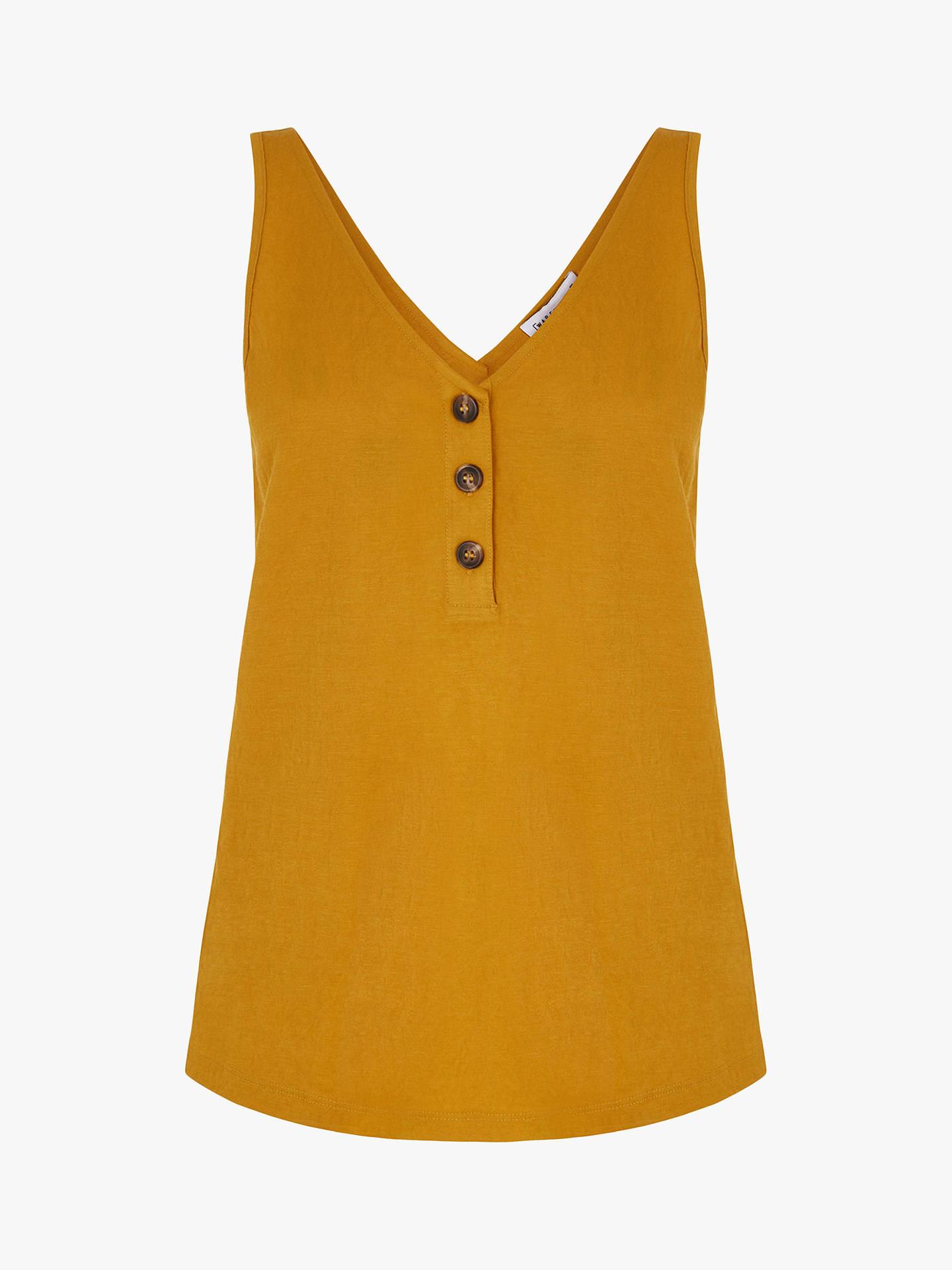 488ffe1acbfba Warehouse Pique Button Detail Vest Top at John Lewis   Partners