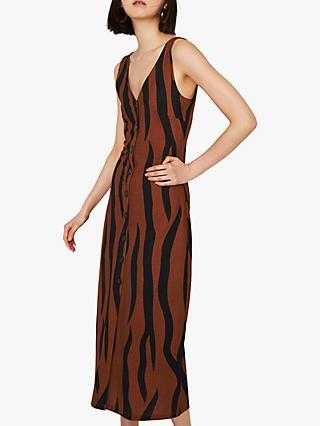 553146de9e1a Warehouse Animal Print Pique Button Midi Dress