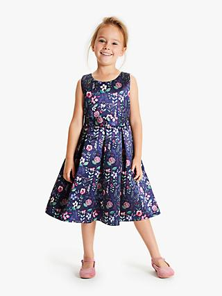 John Lewis & Partners Heirloom Collection Girls' Floral Printed Dress, Purple