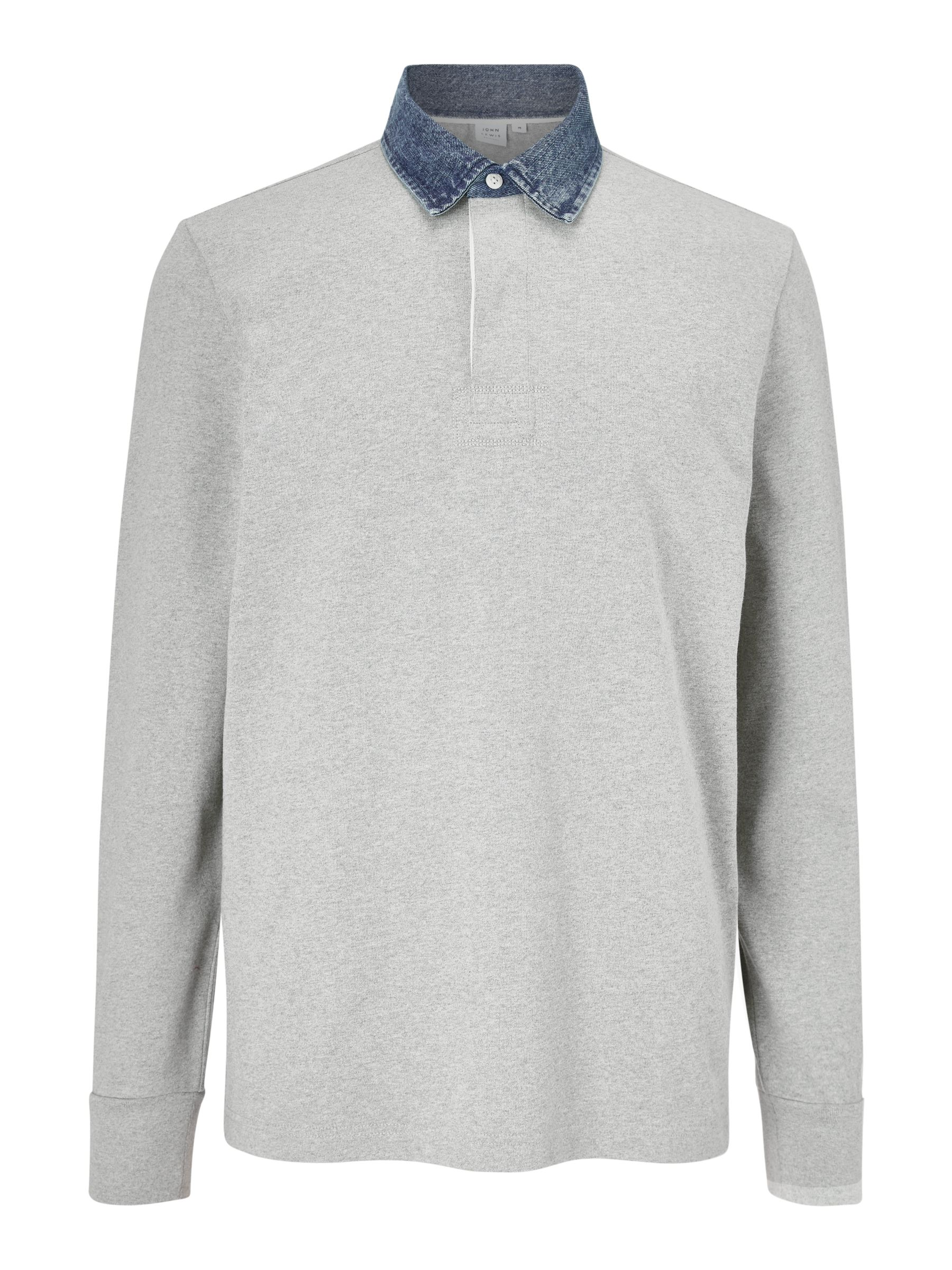 Buy John Lewis & Partners Merritt Denim Collar Rugby Top, Grey Melange, S Online at johnlewis.com