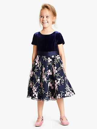 John Lewis & Partners Heirloom Collection Girls' Velvet Embroidered Dress, Blue