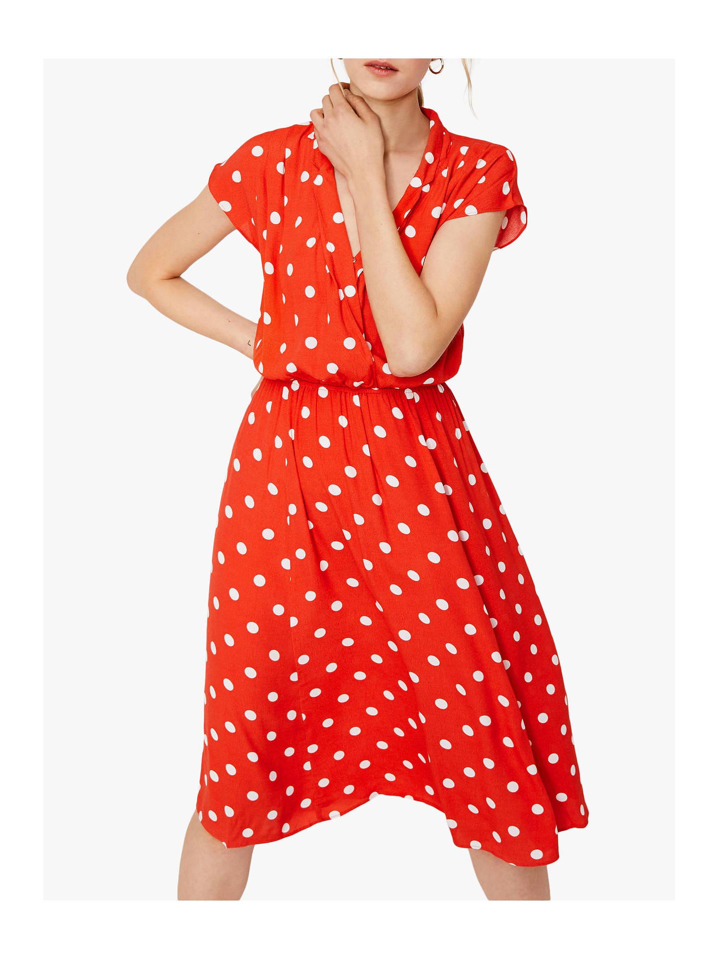 cdb74e519 Buy Warehouse Polka Dot Shirt Dress, Coral, 12 Online at johnlewis.com ...