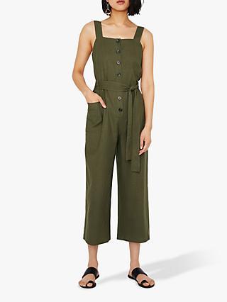 c74414dbf2 Warehouse Sleeveless Linen Blend Jumpsuit