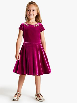 John Lewis & Partners Heirloom Collection Girls' Velvet Beaded Dress, Pink