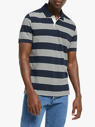 John Lewis & Partners Supima Cotton Stripe Polo Shirt, Navy