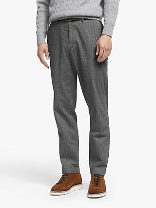 John Lewis & Partners Belted Herringbone Straight Fit Trousers