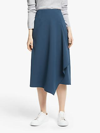 John Lewis & Partners Asymmetric Front Midi Skirt, Twilight Blue