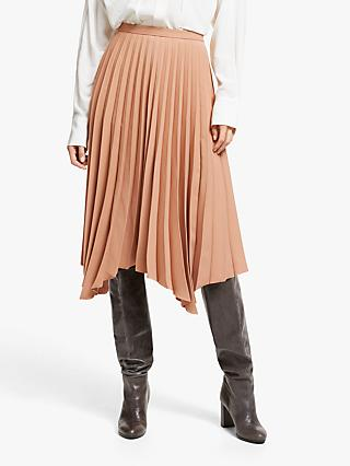 Modern Rarity Pleated Hanky Hem Skirt, Natural