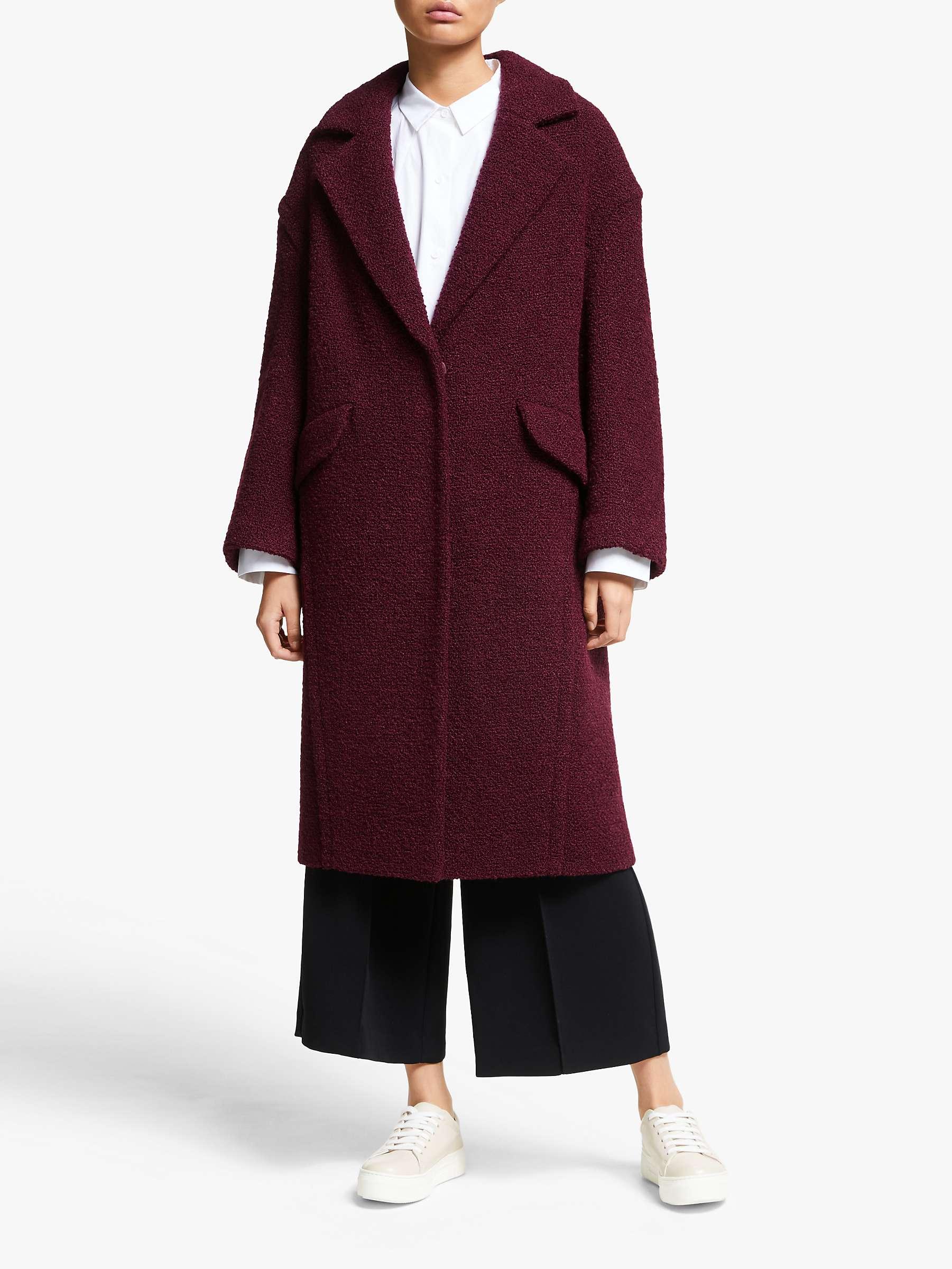 Kin Angled Seam Cocoon Coat, Dark Red by John Lewis