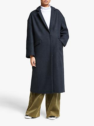 Kin Check Angled Seam Cocoon Coat, Blue
