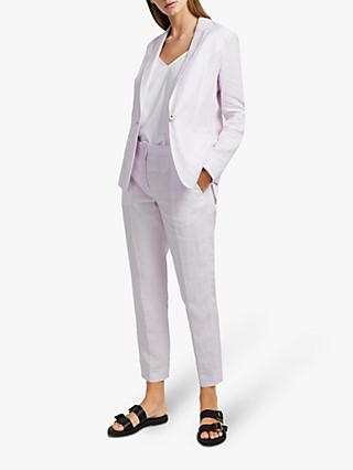 French Connection Dina Linen Single Breasted Jacket, Lavender Frost