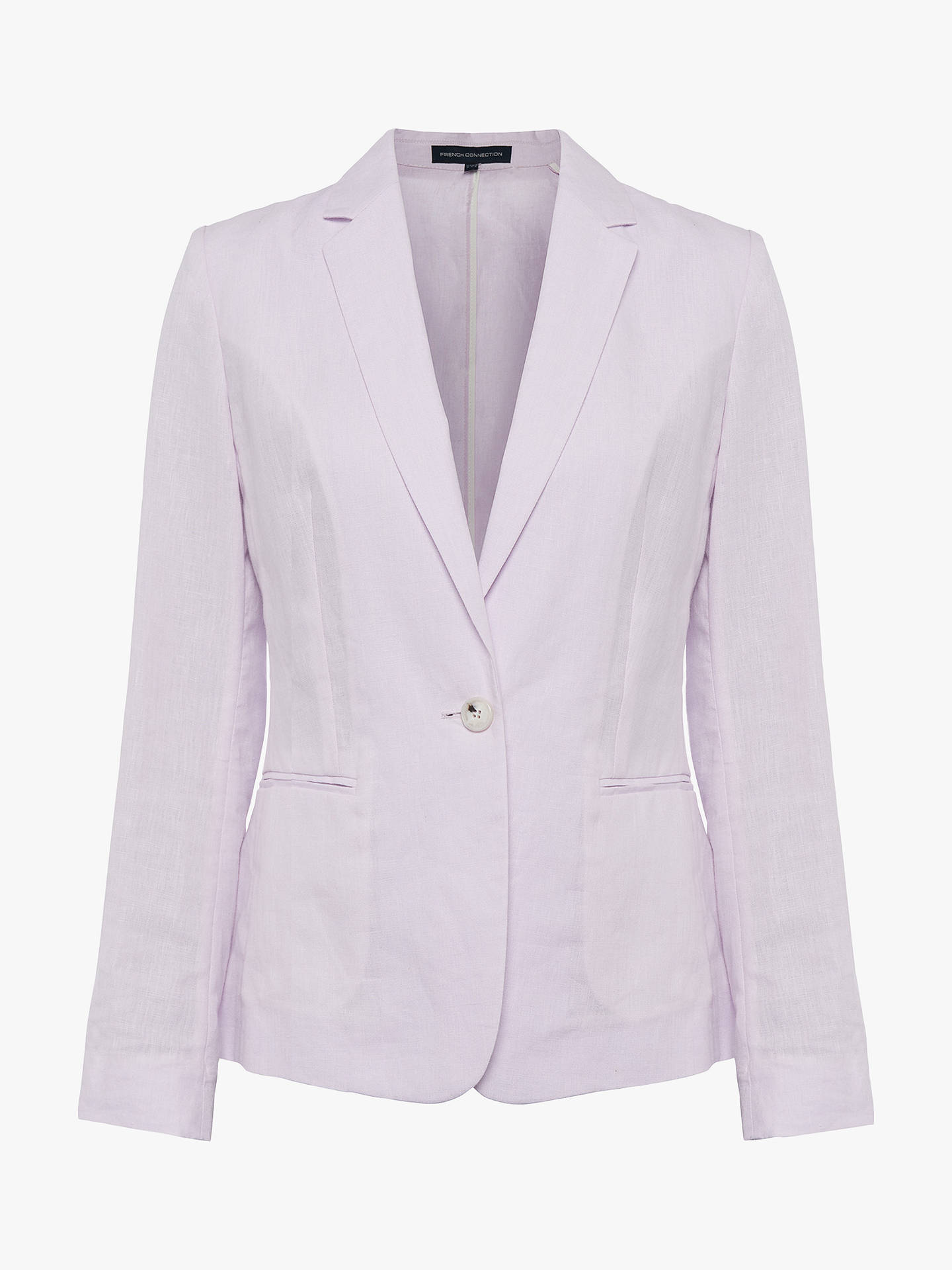 Buy French Connection Dina Linen Single Breasted Jacket, Lavender Frost, 8 Online at johnlewis.com