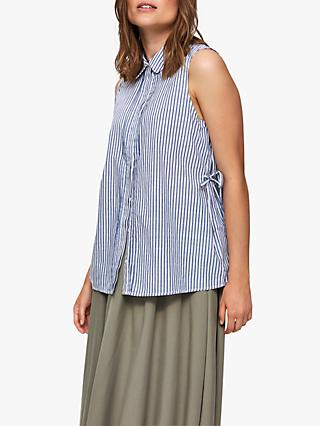 Selected Femme Cassy Sleeveless Shirt, Vintage Indigo/Bright White