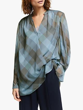 Modern Rarity Check Wrap Front Blouse, Blue