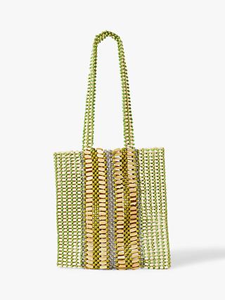 Jigsaw Hand Crafted Beaded Shopper Tote Bag, Lime Green/Neutral