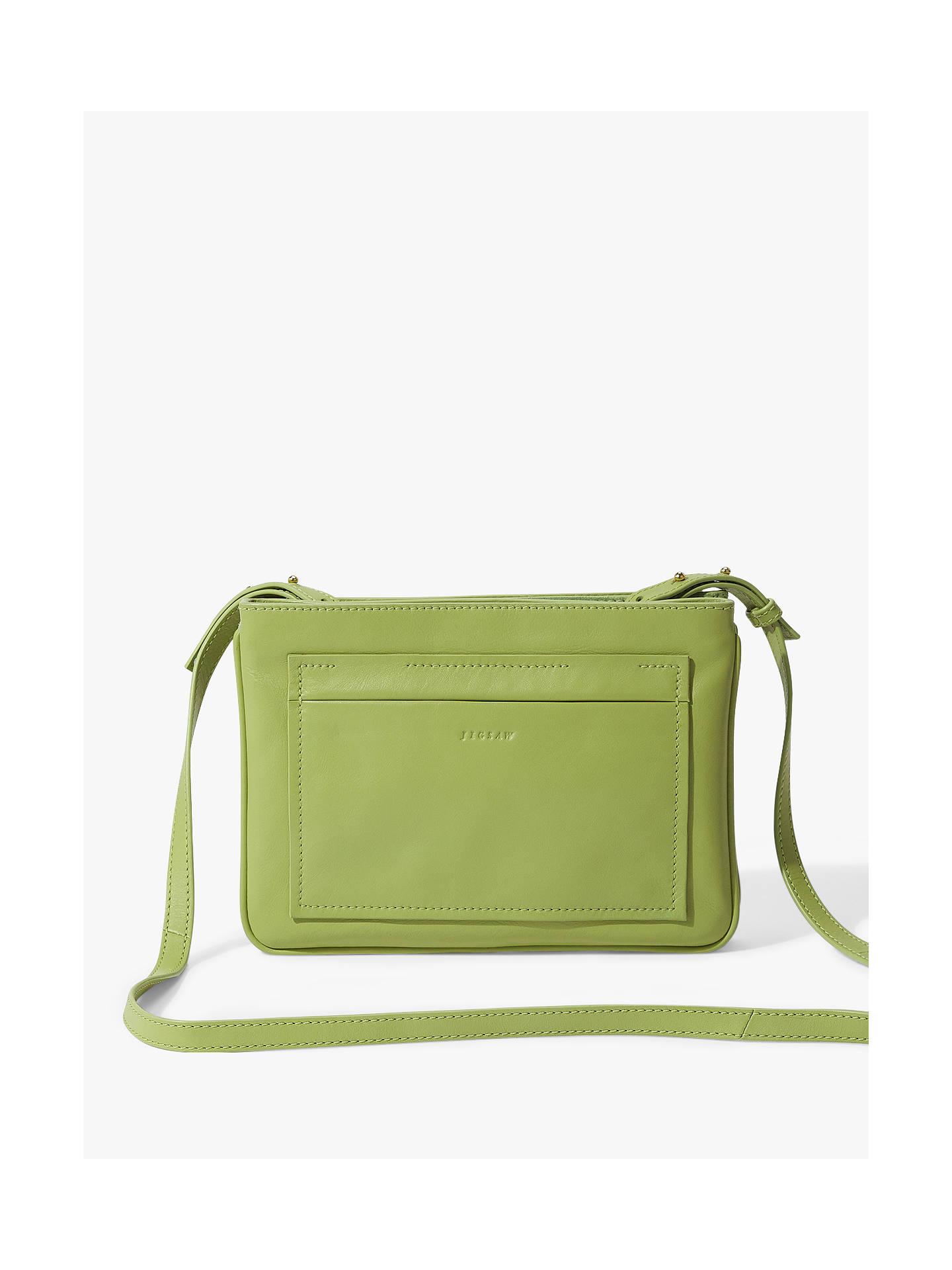 1e7d03766fc Jigsaw Tanvi Gusset Leather Crossbody Bag, Lime Green