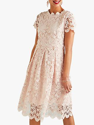 Yumi Lace Midi Prom Dress, Light Pink