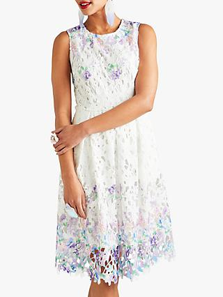 Yumi Flower Lace Dress, White/Multi