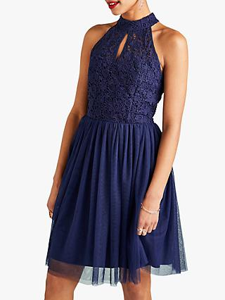 Yumi Lace Halter Neck Party Dress, Navy