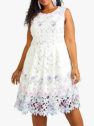Yumi Flower Mirror Cut Out Lace Dress, White