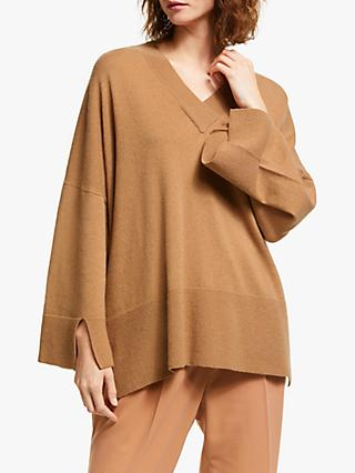 Modern Rarity Cashmere V-Neck Square Jumper, Brown