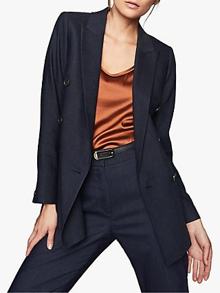 Reiss Belle Linen Jacket, Indigo
