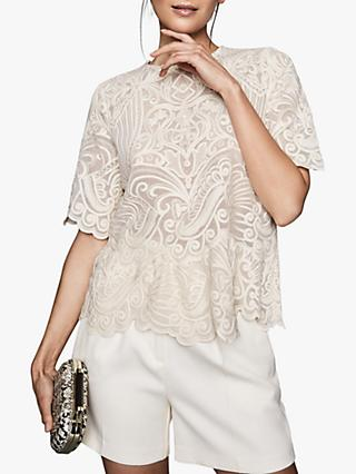 Reiss Melania Lace Top, Ivory