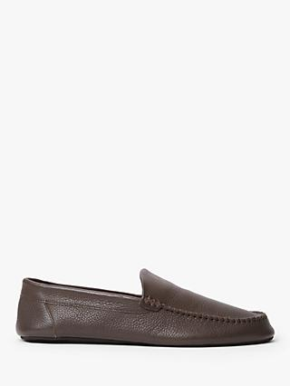 John Lewis & Partners Alta Luxury Leather Moccasin Slippers, Chocolate