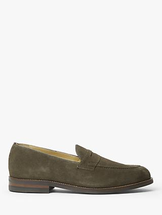 John Lewis & Partners Burlington Suede Penny Loafers, Musk