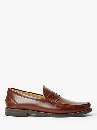 John Lewis & Partners Somersall Leather Loafers, Cognac