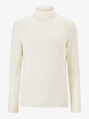 Buy John Lewis & Partners Lambswool Roll Neck Fisherman Jumper, Ecru, S Online at johnlewis.com