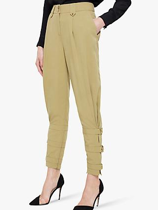 Damsel in a Dress Viola Tapered Ankle Detail Trousers, Khaki