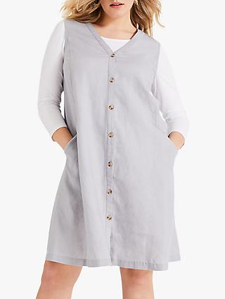 Studio 8 Ariana Buttoned Linen V-Neck Dress, Grey
