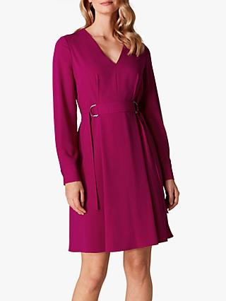 Karen Millen Soft Pleated Midi Dress, Magenta