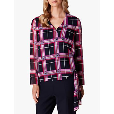 Karen Millen Oversized Check Wrap Blouse, Multi