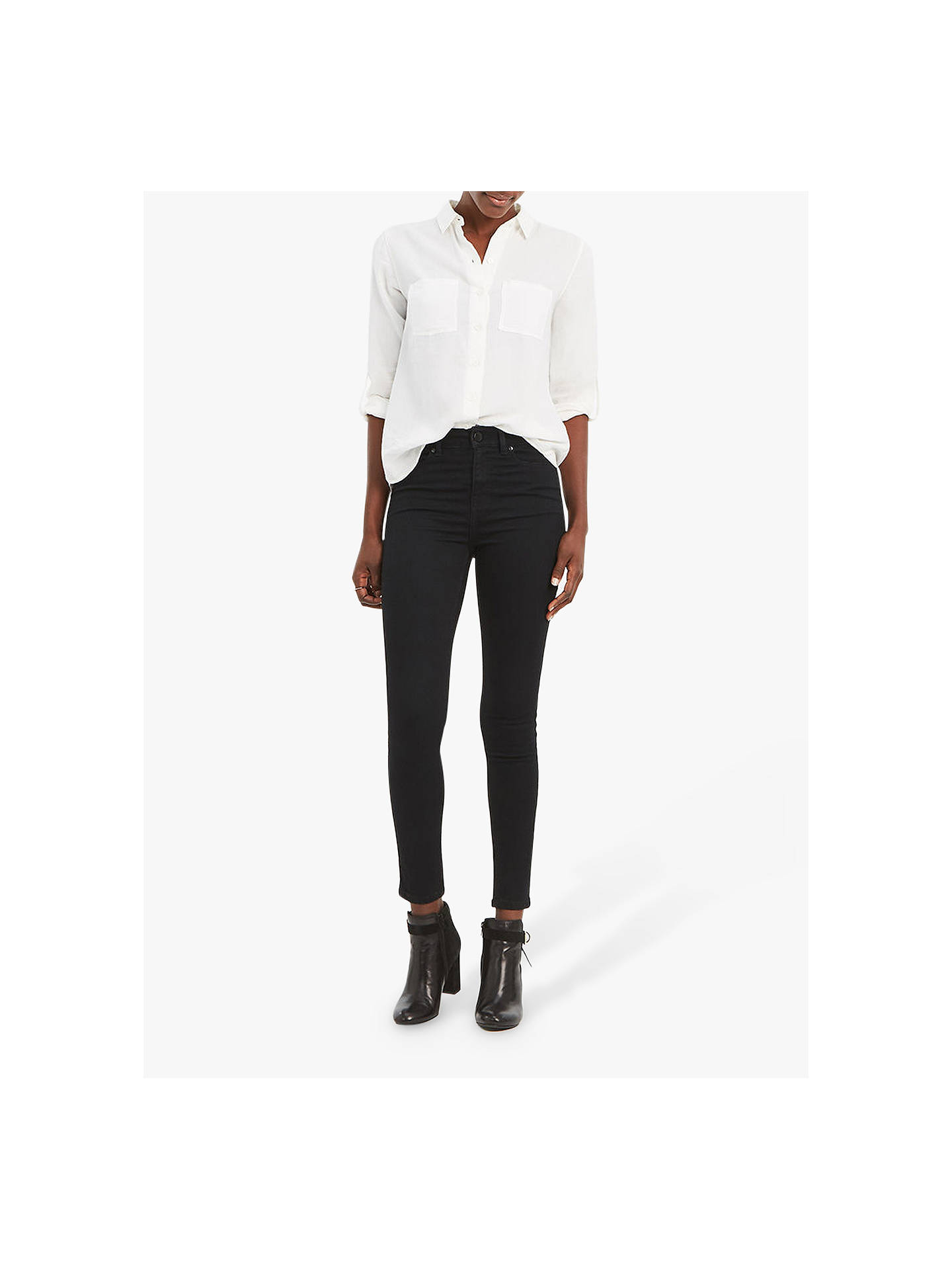 df813390aa94 Buy Oasis Lily Ankle Grazer Jeans, Black, 6 Online at johnlewis.com ...