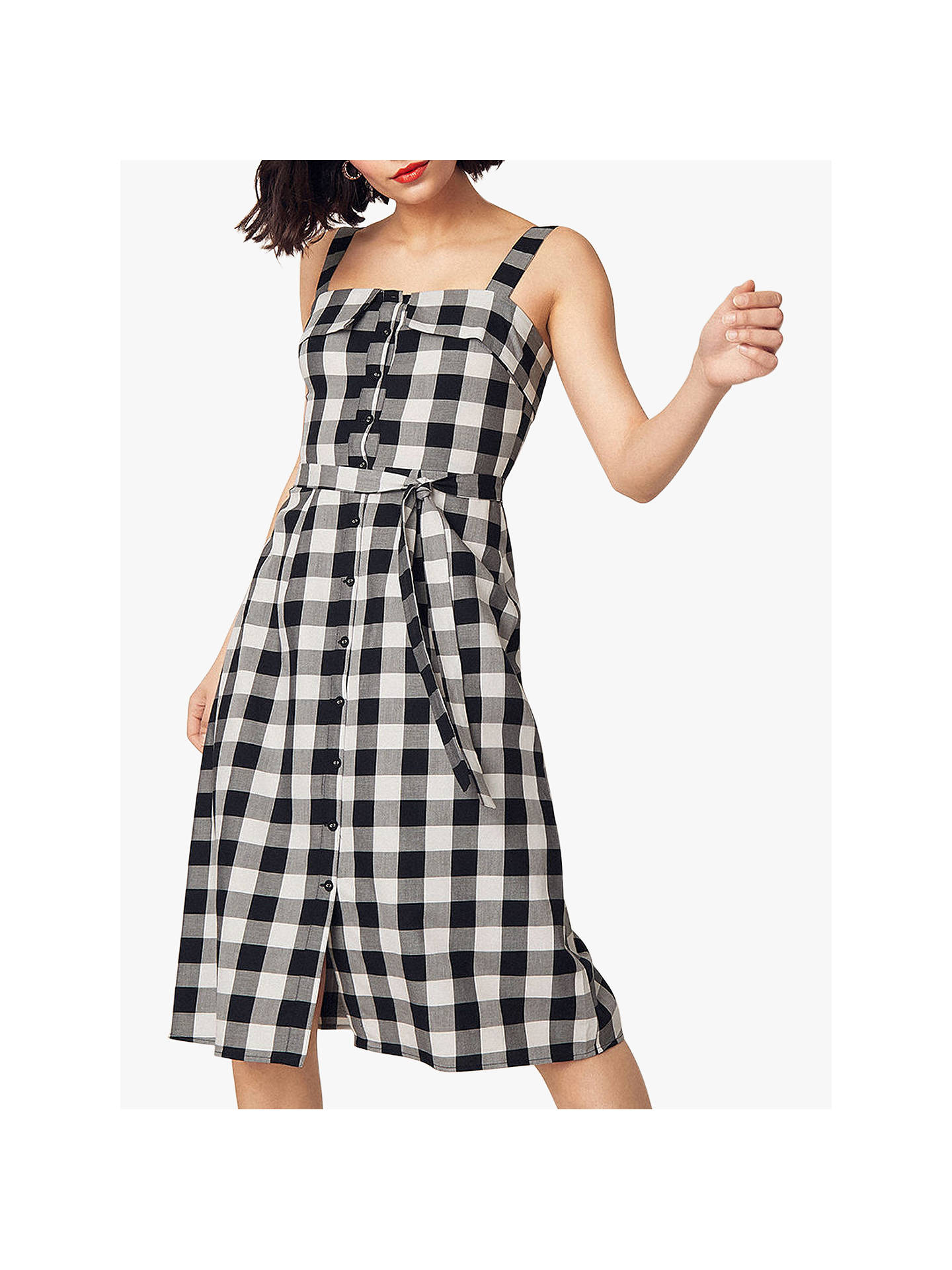 3ff7b4a0ce83 Buy Oasis Gingham Midi Dress, Black/White, 10R Online at johnlewis.com ...