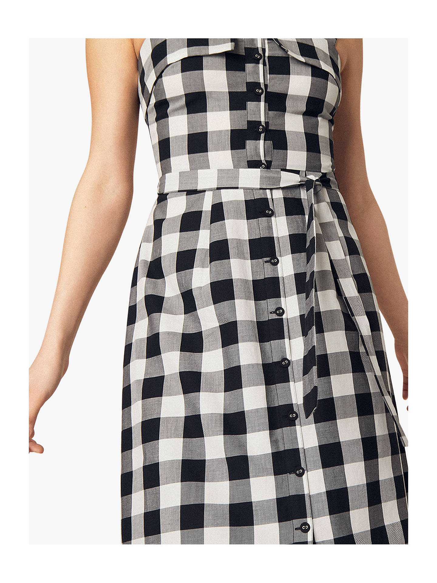 340cdf563afd ... Buy Oasis Gingham Midi Dress, Black/White, 10R Online at johnlewis.com