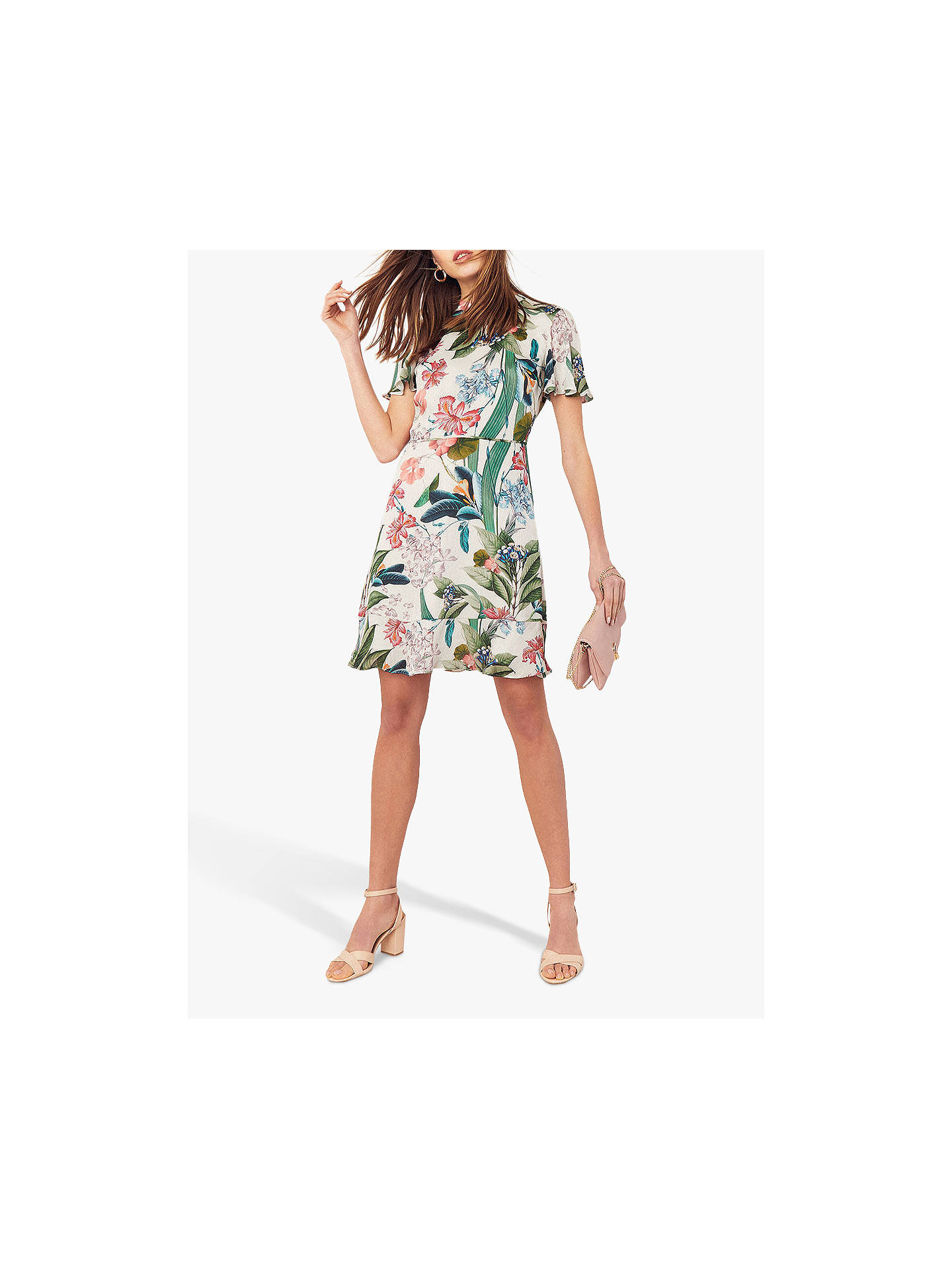 a4a06b603f45 Buy Oasis Hot Tropics Skater Dress, Neutral/Multi, 12 Online at johnlewis.