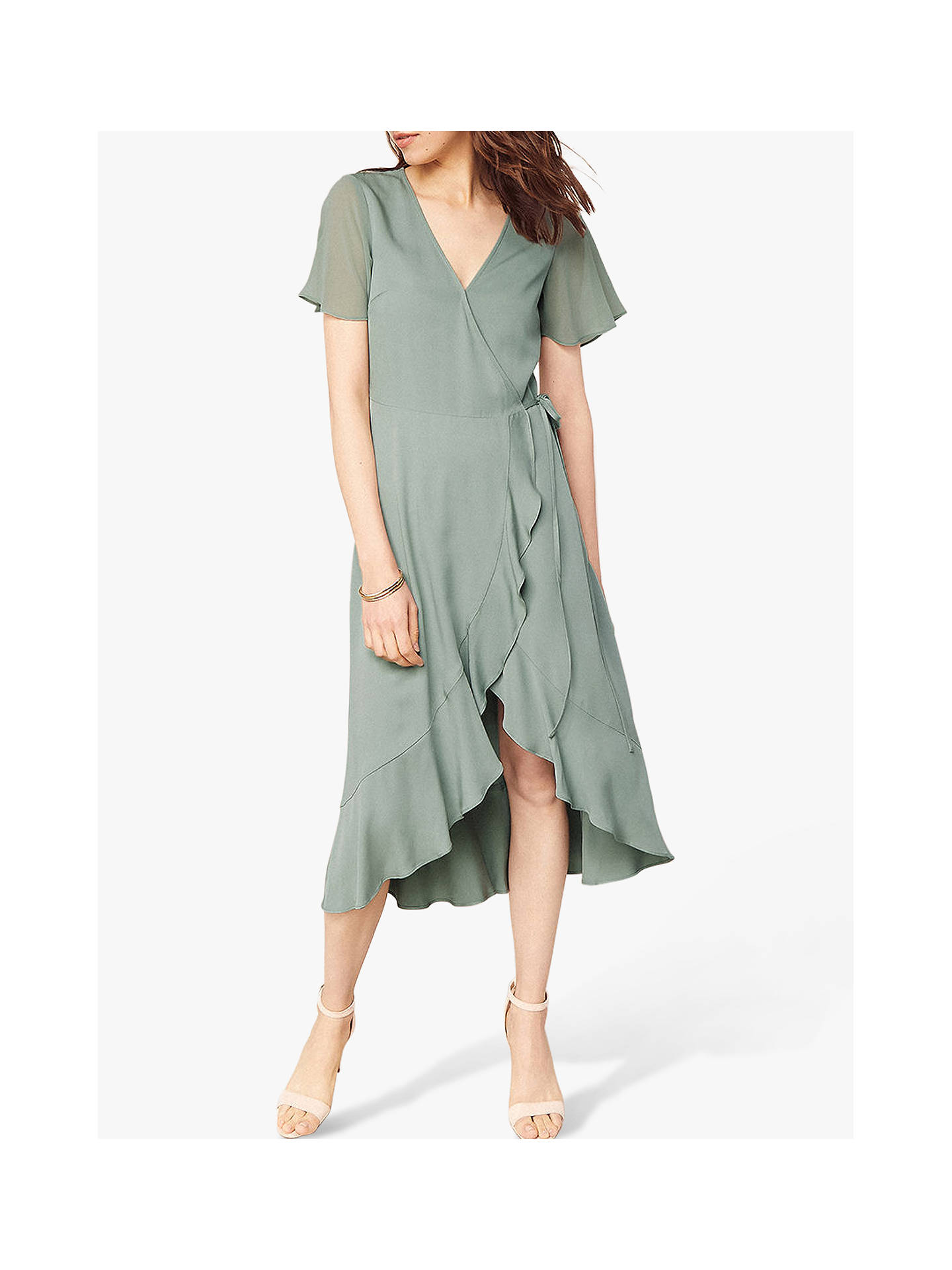 Buy Oasis Chiffon Wrap Dress, Khaki, 8L Online at johnlewis.com