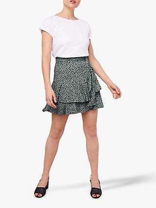 d7cdf84be Oasis Animal Print Tiered Mini Skirt, Green/Multi