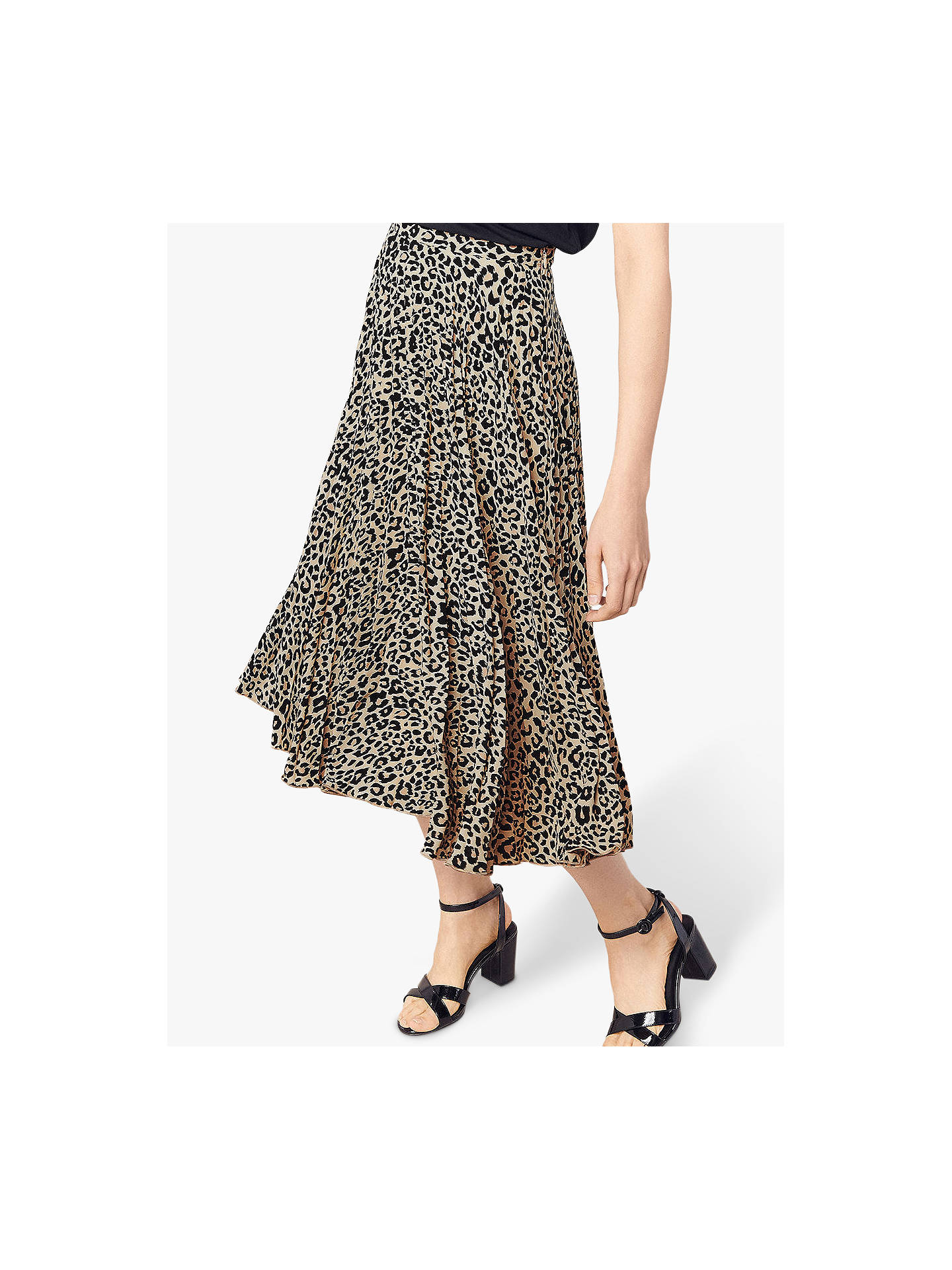 ad05bbe14dd3 Buy Oasis Animal Print Pleat Skirt, Multi, 8 Online at johnlewis.com ...
