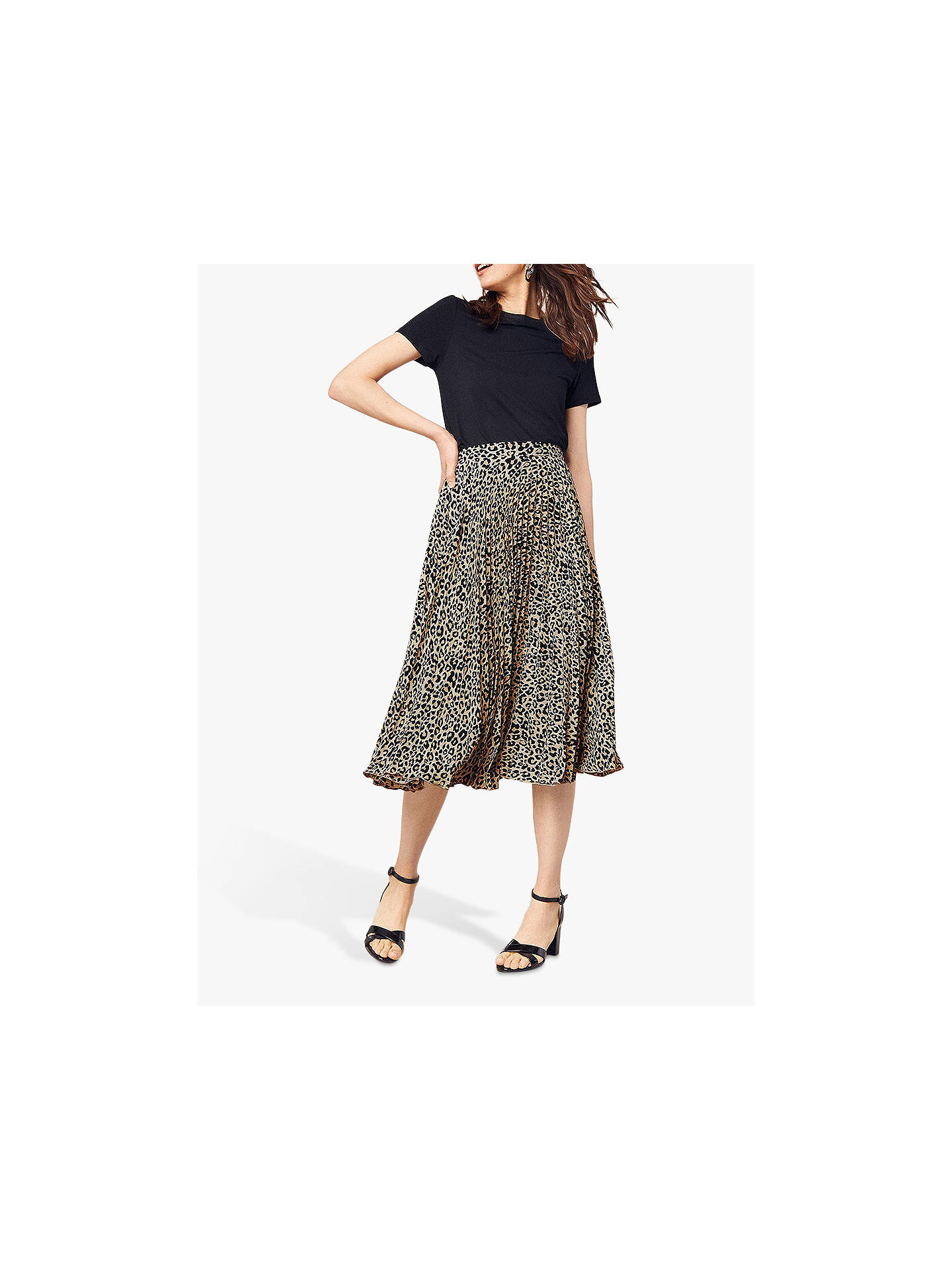 4a232ba8b994 ... Buy Oasis Animal Print Pleat Skirt, Multi, 8 Online at johnlewis.com ...