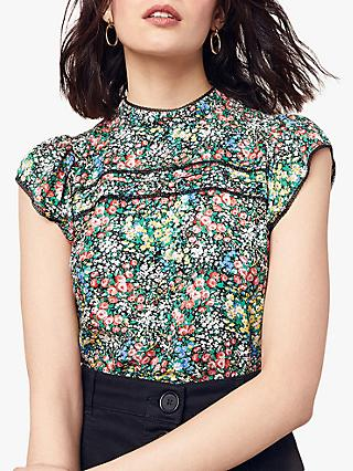 f86ee6c699a978 Oasis Ditsy Floral Lace Trim Top