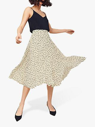 Oasis Spot Pleated Midi Skirt, Multi Natural