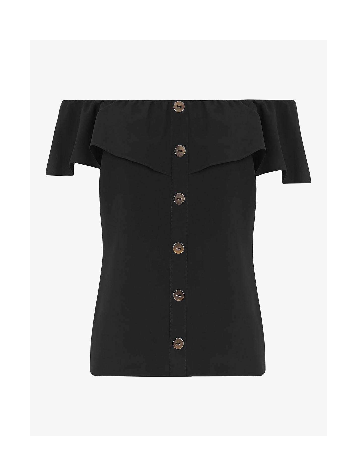1195d1faff7 ... Buy Oasis Button Through Bardot Top, Black, 6 Online at johnlewis.com  ...