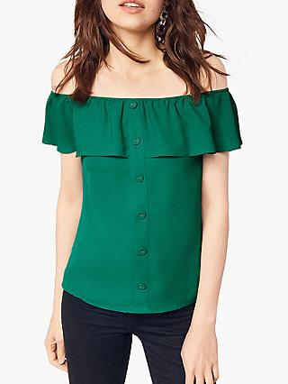 Oasis Bardot Button Through Top, Deep Green