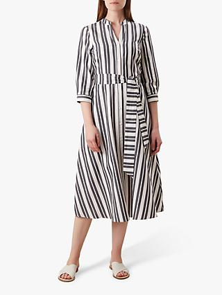 Hobbs Leanna Cotton Dress, Navy/White