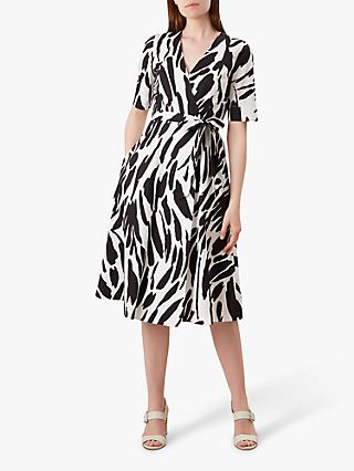 Hobbs Amara Cotton Dress, Black/Ivory