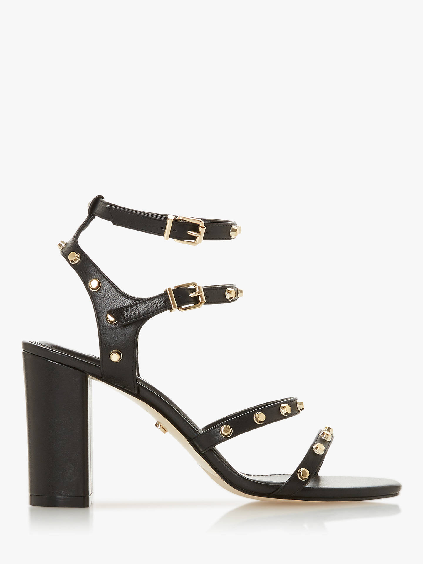 Buy Dune Model Leather Gladiator Studded Sandals, Black, 3 Online at johnlewis.com